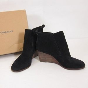 Lucky Brand Yoniana wedge black ankle suede bootie